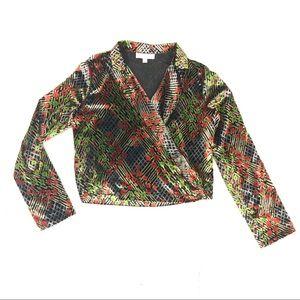 Anthro Ett:twa floral velvet wrap blazer top check